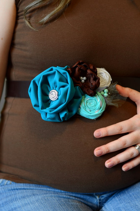 Beautiful Handmade Turquoise and Brown Maternity Sash /Photo Prop/ Ready to Ship