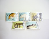 Vintage Stamp Set of 5 - 50th Anniversary of Foundation of Warsaw Zoo
