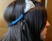 Bandeau fait-main - cuir noir tressé et plumes de faisan Lady Amherst