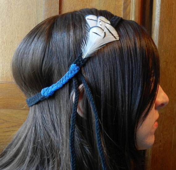 Braided black leather headband with Lady Amherst's pheasant feathers - Handmade