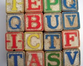 Vintage Toy Blocks Rustic Wooden Childrens Alphabet Letters - FREE SHIPPING