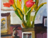 Tulips, bird and hare. Painting.