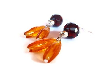 Topaz earrings handmade with light topaz glass beads and smoked topaz crystal beads. ooak made in Italy