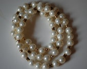 Wrap around pearl bracelet with gold trim