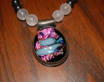 Rose Quartz Necklance with glass pendant set in sterling silver