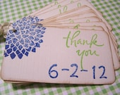 8 Blue Dated  Thank You Gift Tags Favors Labels Cards Bridal Shower Wedding Spring Summer Dahlias Flower - You Choose Colors