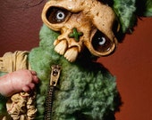 Fuzzy green skully bunny Halloween trick or treater monster doll ooak
