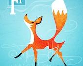 "F is for Fox - Nursery Animal Alphabet Art by Oddly Olive, Tiffany Holesovsky - 8"" x 10""  Epson Paper Giclée Print"