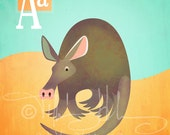"A is for Aardvark - Nursery Animal Alphabet Art by Oddly Olive, Tiffany Holesovsky - 8"" x 10""  Epson Paper Giclée Print"