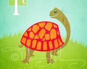 "T is for Turtle - Nursery Animal Alphabet Art by Oddly Olive, Tiffany Holesovsky - 8"" x 10""  Epson Paper Giclée Print"