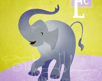 "E is for Elephant - Nursery Animal Alphabet Art by Oddly Olive, Tiffany Holesovsky - 8"" x 10""  Epson Paper Giclée Print"