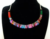 Colorful Tribal-Inspired Peruvian Textile Necklaces with Sterling Silver Chain
