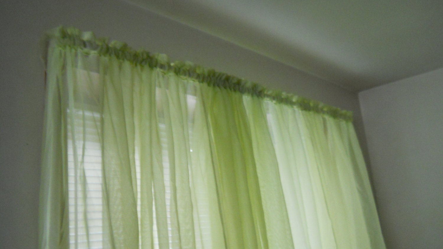 Lime Green Curtains Sheer Large 1 Or 2 By Thewelldressedwindow