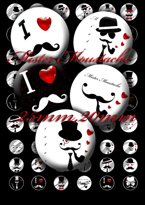 "Digital collage sheets """"Mister Mustache "" Circles 25mm,20mm"
