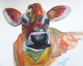 Jersey Cow 2 Giclee Print Taken from Morena Artina Watercolour