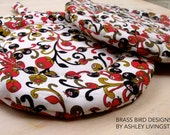 Round Red, White, and Black Quilted Pot Holders