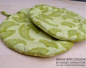 Round Quilted Pot Holders in Light Green