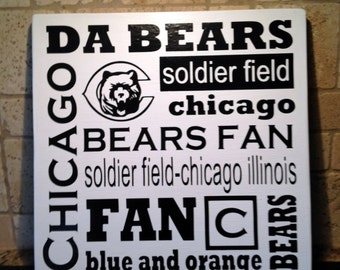 Chicago Bears Wall Art chicago bears wall art | etsy