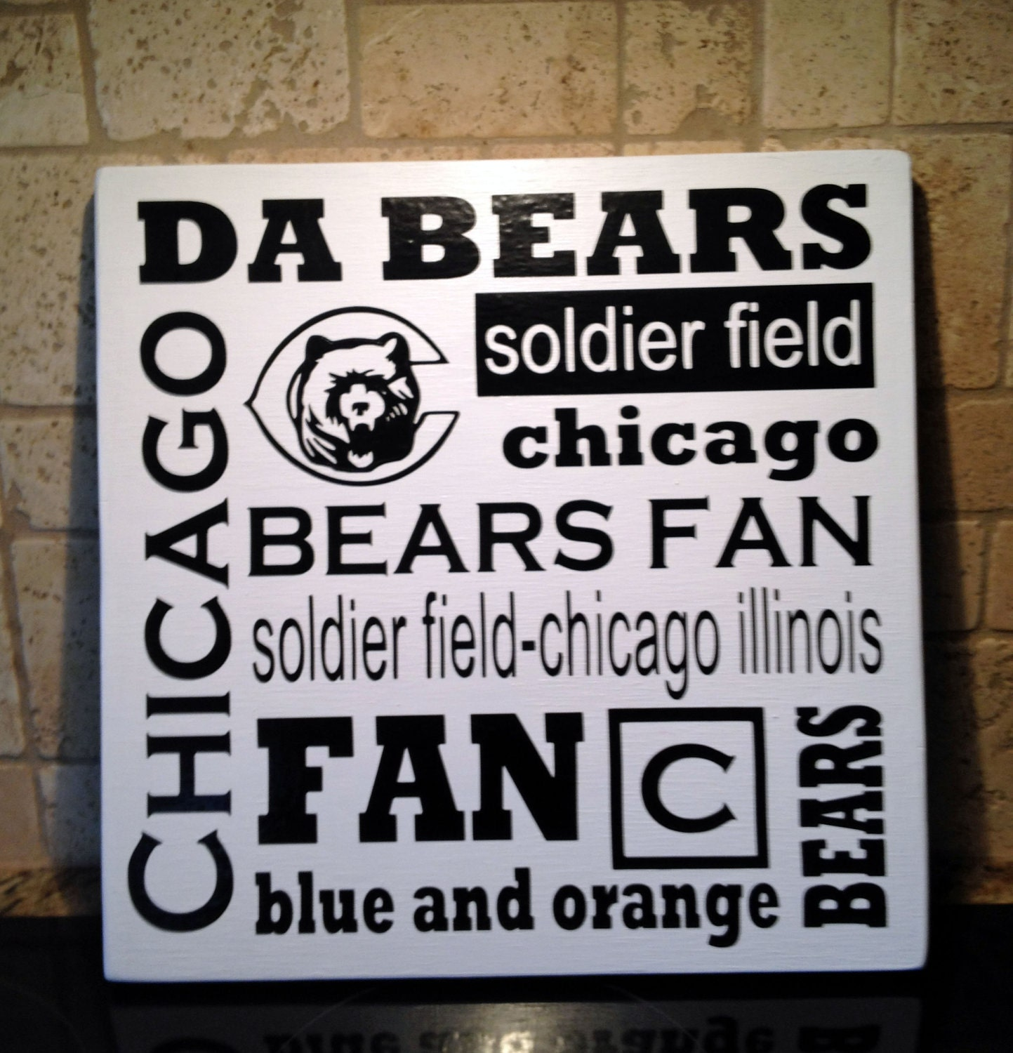 Chicago Bears Wall Art chicago bears sign football decor da bears