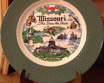 Vintage Missouri Tourist Souvenir Plate