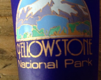 Vintage Yellowstone National Park Blue Glass