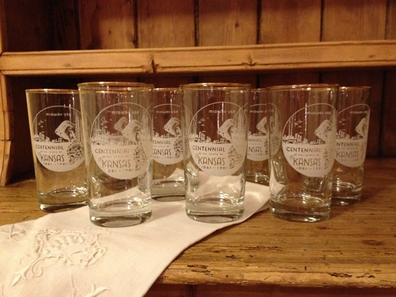 Reduced/ 8 Vintage Kansas Commemorative Glasses from 1961