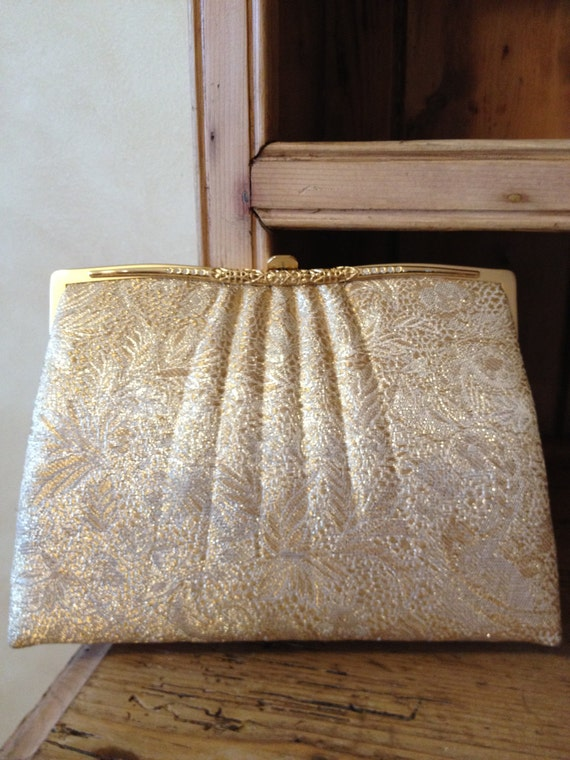 Vintage Gold Tapestry Evening Purse