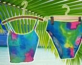 Vintage Neon Mesh Colorful 2 Piece Swimsuit