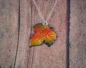 Enamel Pendant FALL LEAF with Sterling Silver - ColoredwithEnamel