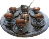 Old etched COPPER COFFEE SET Large serving tray, 6 cup holders w plates & urn - Oriental home decor metal etching folk art crafts lot