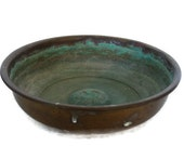 Rustic old BRASS bath house mini BOWL green PATINA Oriental country home decor - Mini metal holder for bathroom spa massage accessories