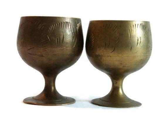 Vintage Lot Of 2 Cute Metal Goblets Judaica Kiddush Cups