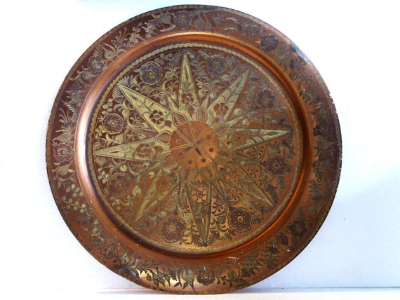 Antique Copper Serving Tray Large Etched Wall Hanging Plate