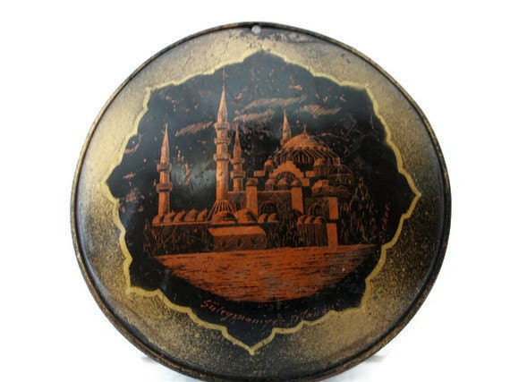 Vintage copper wall HANGING CONVEX mini PLATE - Hand etched Istanbul landmark 16h century historical mosque picture Oriental city souvenir