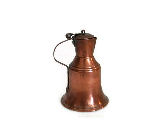 COPPER MILK cream JUG Turkish miniature water pitcher Vintage hand hammered coffee pot Unique decorative metal display
