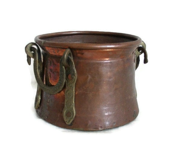 Vintage Cauldron Hammered Copper Ornate Brass Handles