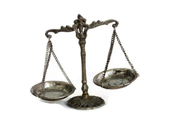 Vintage Miniature law & Justice WEIGHING SCALES brass, mixed metal DECORATIVE lawyer office display - Pharmacy shelf decoration