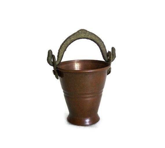 Vintage MINIATURE COPPER coal SCUTTLE unique dollhouse furniture bucket brass handle - Cactus planter pot candle holder handmade metal craft