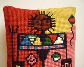 Woollen hand embroidered pillow cover -- Folk indian warrior -- OOAK  -- Cozy Home Decoration