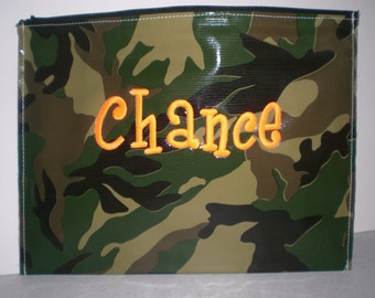 Camouflage Green Large  Zipper Flat  Monogrammed Pouch