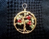 Tree pendant, hawthorn, crystal and wire