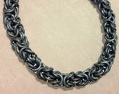 Soft blue titanium chainmail bracelet Byzantine chainmaille