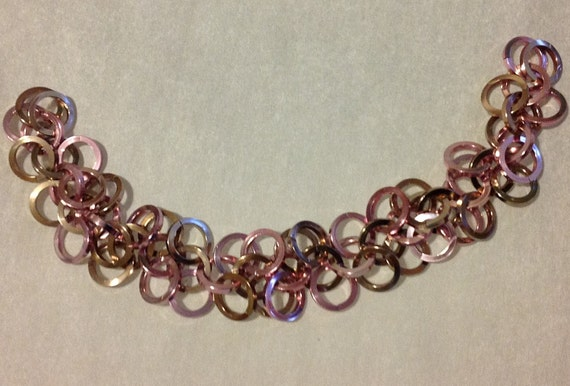 Champagne-pink-silver chainmaille bracelet square aluminum