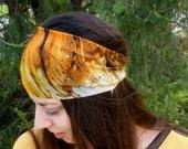 Silk Headband Boho Head Wrap - Womens Headbands Wide Stretchy Headband - Headcovering