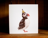 HAND PAINTED BIRD birthday cards - Puffin in Party Hat