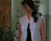 1940s upcycled sleevelss shrug Romantic fairy pink bolero antique lingerie mori girl prairie Boho cowgirl Shabby chic spring summer M
