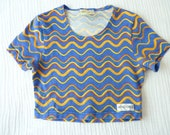 Vintage girls crop top, 80s, 3T to 5T. Rainbow stripes. PSYCHEDELIC