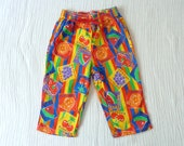 80s/early 90s neon fruit pants, 3T. Brightly colored cotton pants with stripes and fruit.