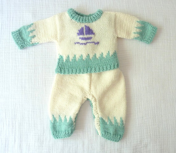 Handmade knit newborn sailor sweater outfit. Matching sweater and overalls.  Soft wool. 0 to 4 months