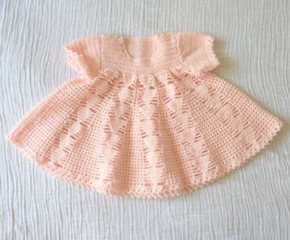 Vintage baby dress 12 months Crocheted Empire waisted with